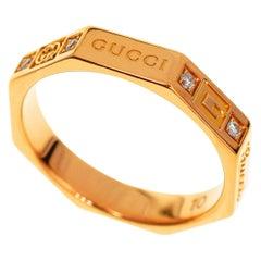 Gucci Diamond 18 Karat Pink Gold Octagonal Ring
