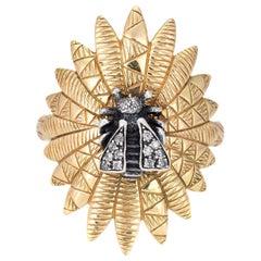 Gucci Diamond Bee Ring Estate 18 Karat Yellow Gold Silver Horsebit Jewelry