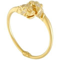 Gucci Diamond Double Panther Yellow Gold Bangle Bracelet
