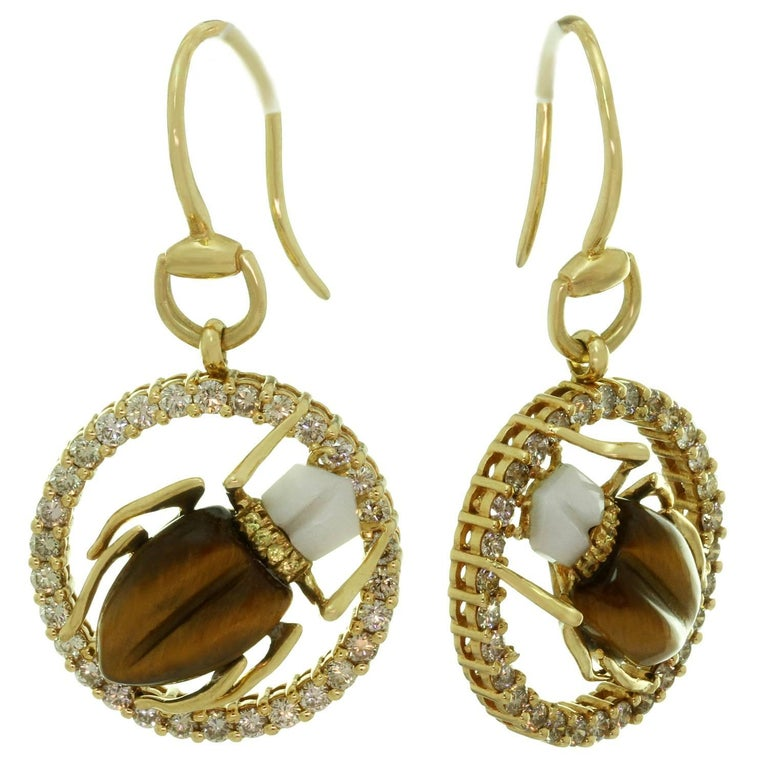 479ef4337d7 GUCCI Diamond Gemstone Yellow Gold Scarab Beetle Earrings   Necklace Set  For Sale 4