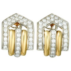 660c5f313b4 Gucci Diamond Yellow and White Gold Omega Back Earrings