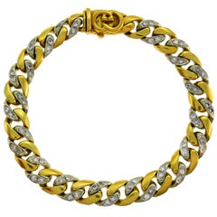 Gucci Diamond Yellow Gold Chain Link Bracelet, 1980s