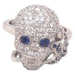 Gucci Diamonds Sapphires Flora Skull Ring 18k White Gold