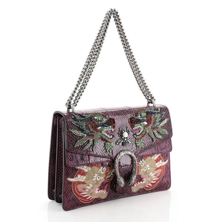 Black Gucci Dionysus Bag Embellished Python Medium For Sale