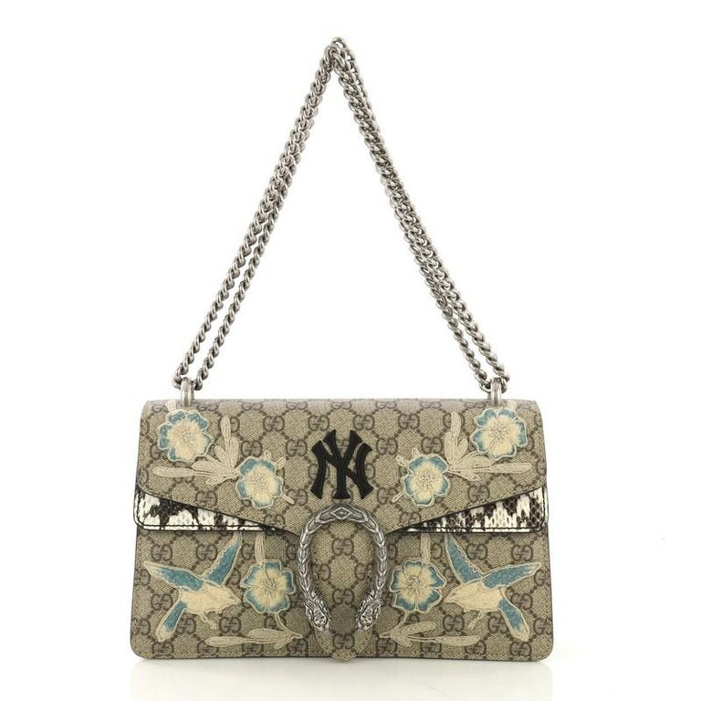 07553b025ab7 Gucci Dionysus Bag Embroidered GG Coated Canvas with Python Small For Sale