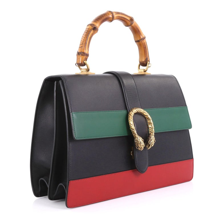a11d7a7613a2 Black Gucci Dionysus Bamboo Top Handle Bag Colorblock Leather Large For Sale