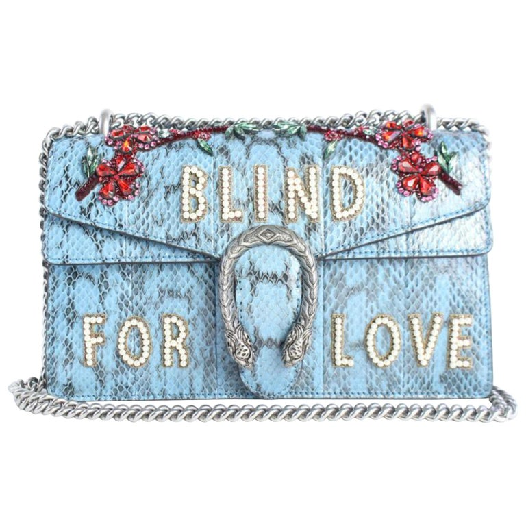 1428f7ffe8a9 Gucci Dionysus Blind Flap 11gz0828 Blue Snakeskin Leather Cross Body Bag  For Sale. Date Code/Serial Number: 481606 486648 Made In: Italy Measurements:  ...