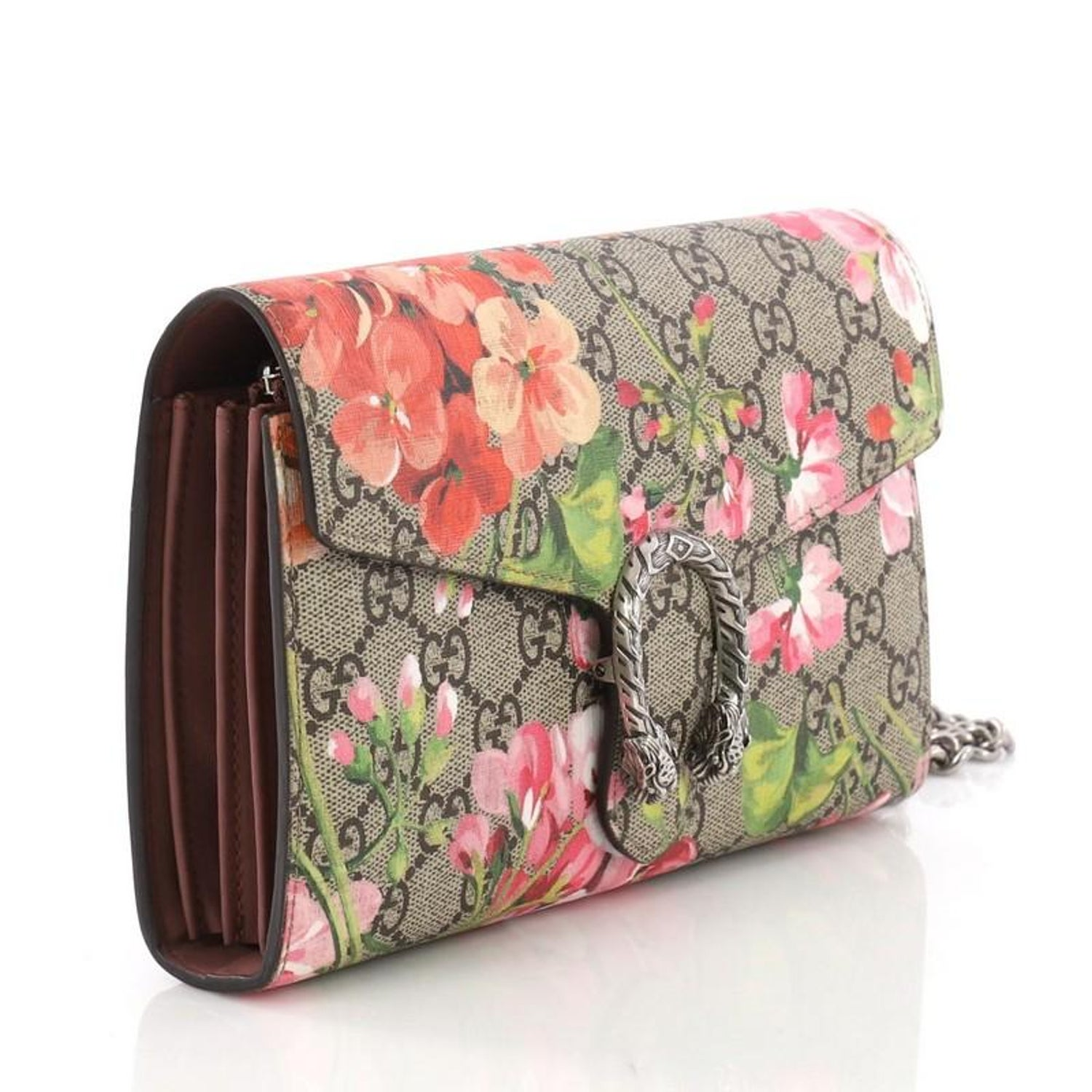 f5368f0e2da Gucci Dionysus Chain Wallet Blooms Print GG Coated Canvas Small at 1stdibs