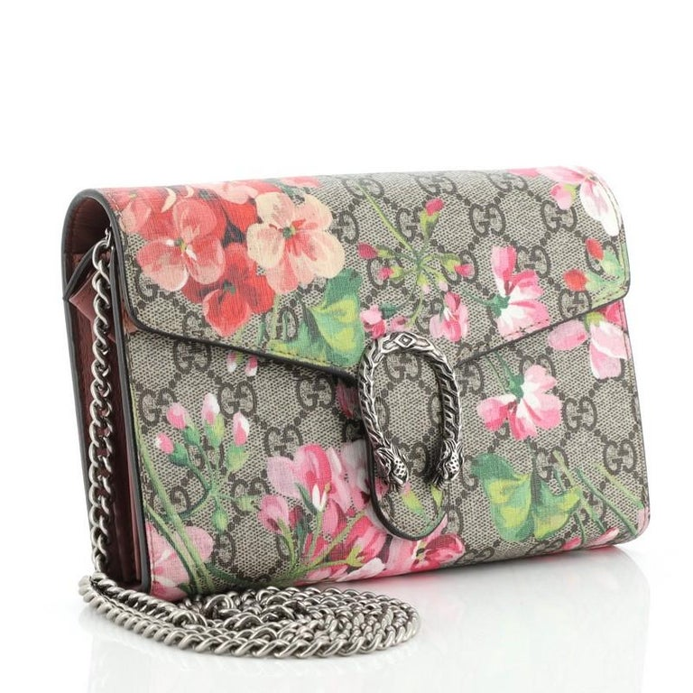 Brown Gucci Dionysus Chain Wallet Blooms Print GG Coated Canvas Small For Sale