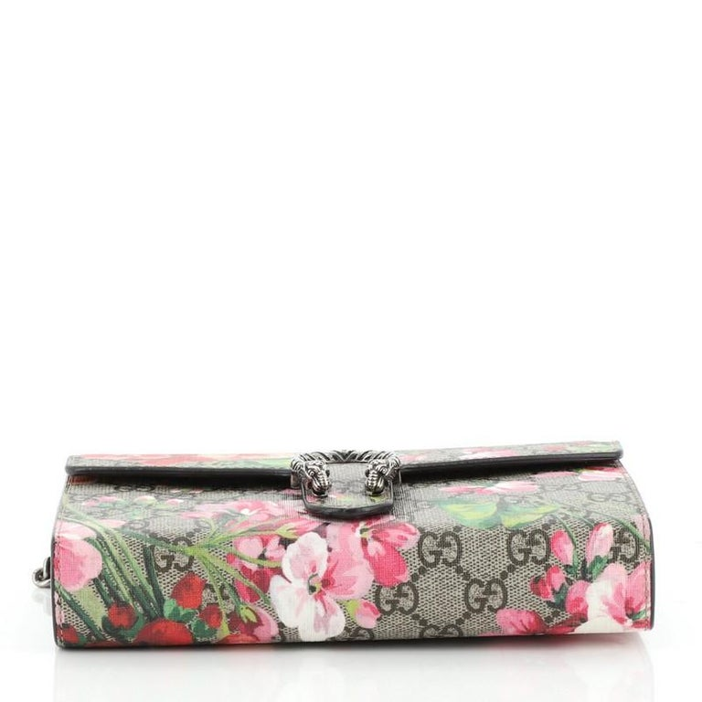 Women's or Men's Gucci Dionysus Chain Wallet Blooms Print GG Coated Canvas Small For Sale