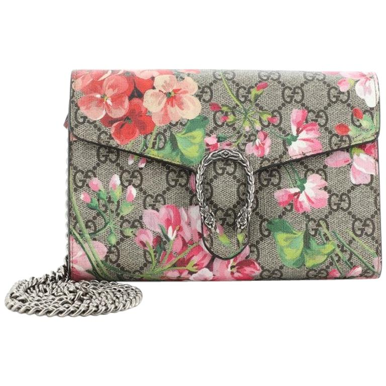 Gucci Dionysus Chain Wallet Blooms Print GG Coated Canvas Small For Sale