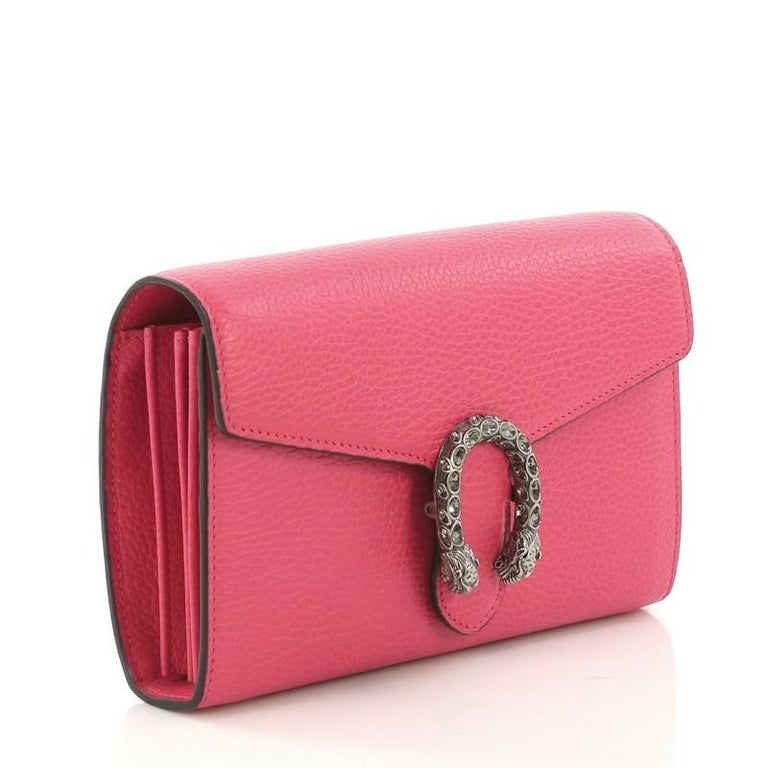 49bbf29a2d2 Pink Gucci Dionysus Chain Wallet Leather with Embellished Detail Small For  Sale