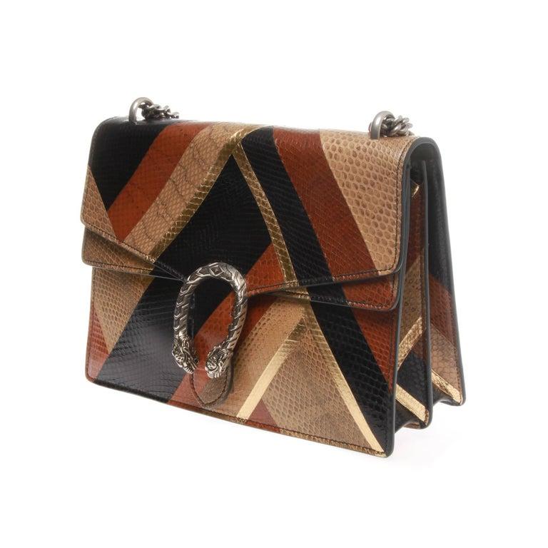 8d2fa234728 Stunning Gucci chevron water snake shoulder bag. Antiqued palladium hardware.  Sliding chain strap can