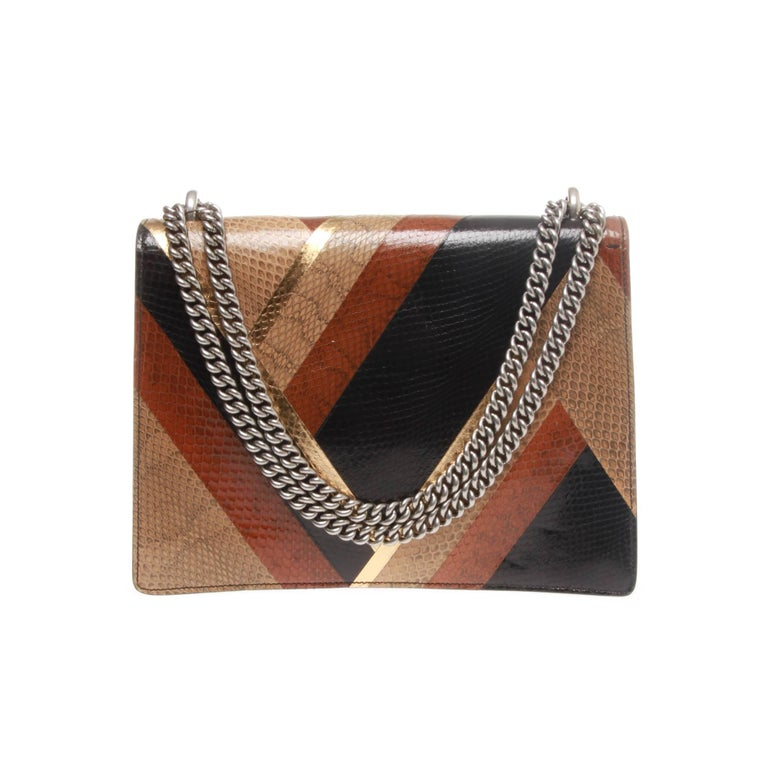 249d023b74e Stunning Gucci chevron water snake shoulder bag. Antiqued palladium hardware.  Sliding chain strap can. Brown Gucci Dionysus Chevron Ayers Bag For Sale
