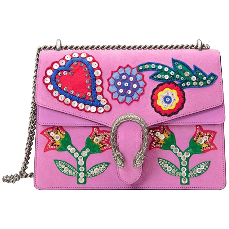 Gucci Dionysus Embroidered Suede Shoulder Bag