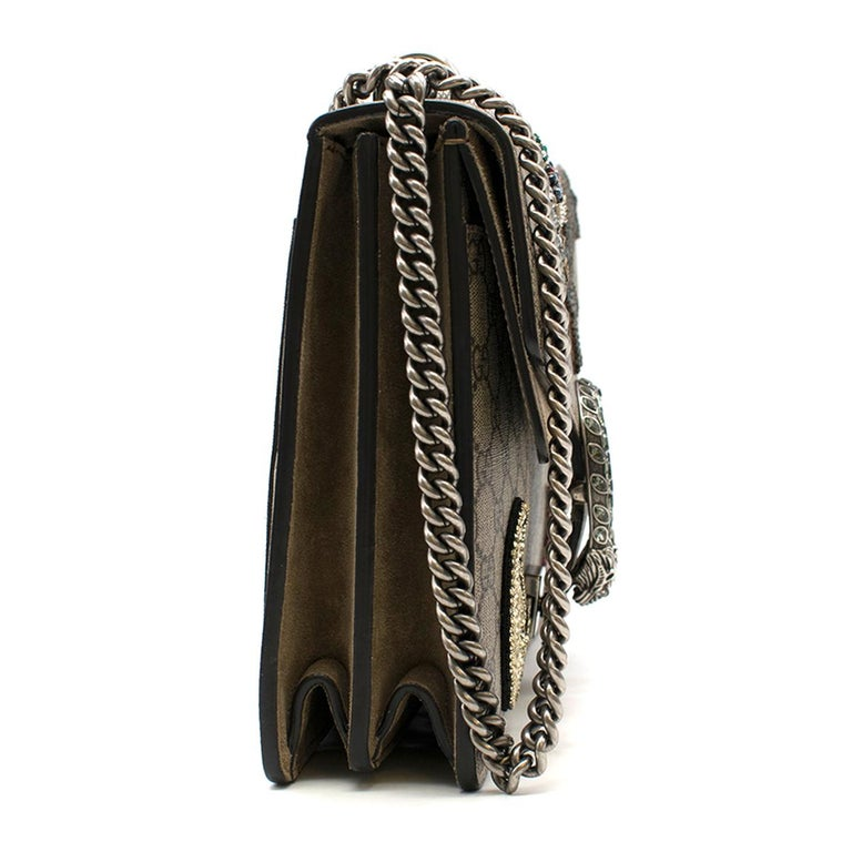 1b0fa20f1c00 Gucci Dionysus GG Supreme Medium embellished shoulder bag - Tonal-brown, GG  supreme coated