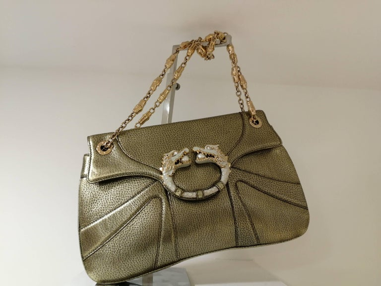 Gucci Dionysus Gold tone leather White Dragons bag In Excellent Condition For Sale In Capri, IT