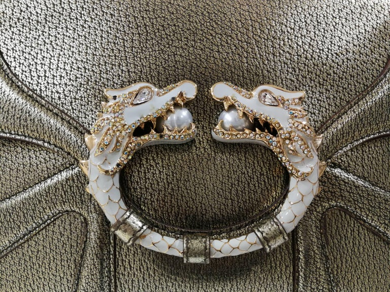 Gucci Dionysus Gold tone leather White Dragons bag For Sale 4
