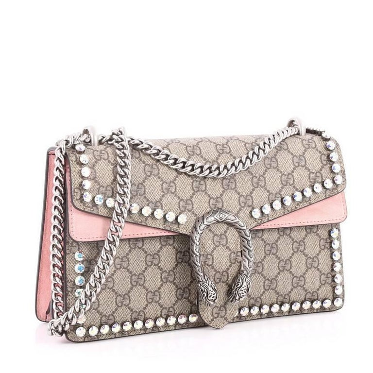 04088f9b527 Brown Gucci Dionysus Handbag Crystal Embellished GG Coated Canvas Small For  Sale
