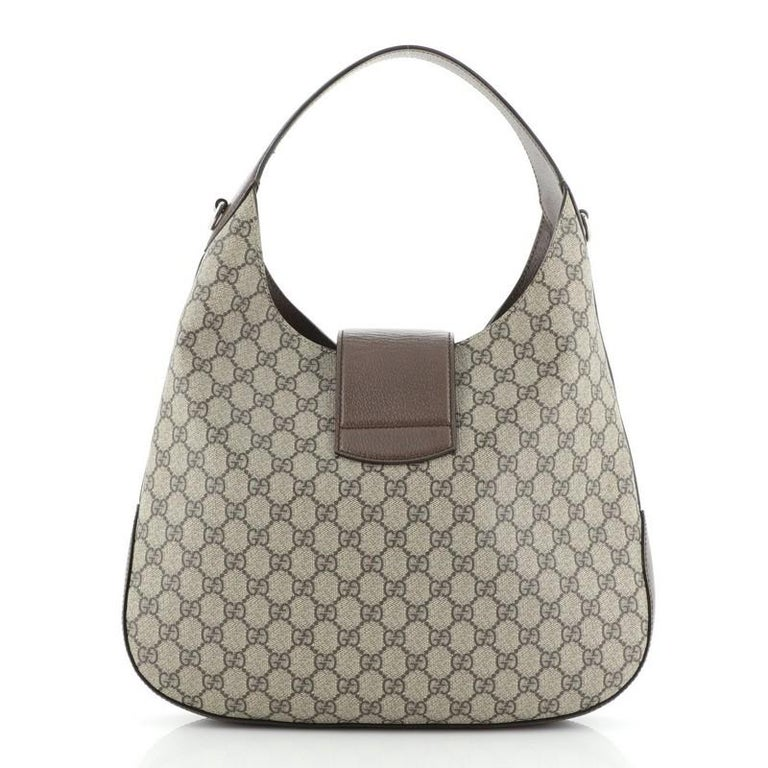 Brown Gucci Dionysus Hobo Embroidered GG Coated Canvas Medium For Sale