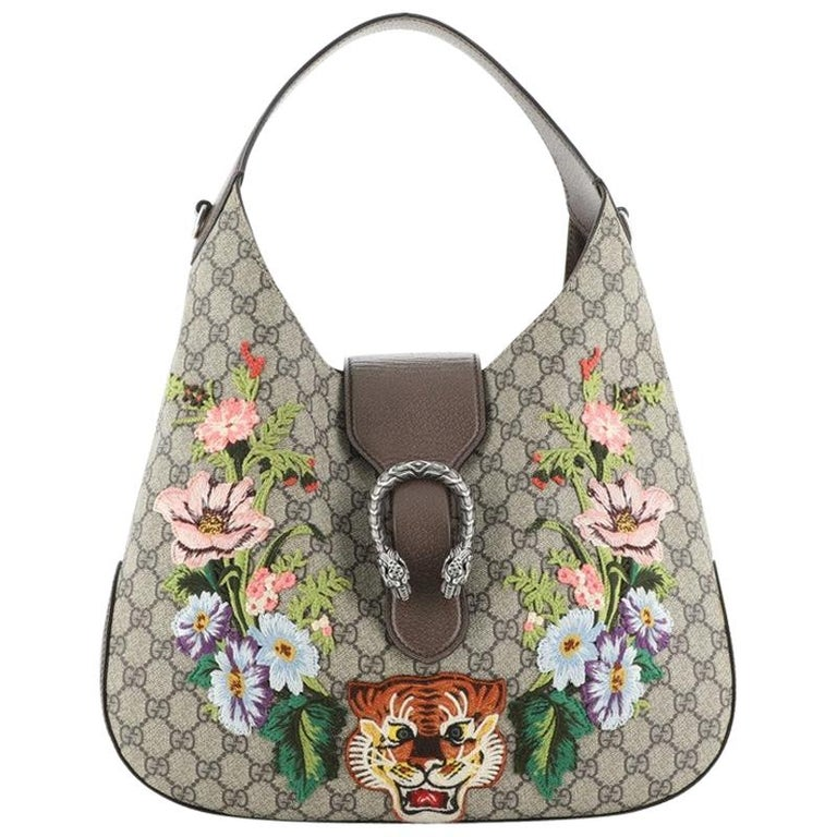 Gucci Dionysus Hobo Embroidered GG Coated Canvas Medium For Sale
