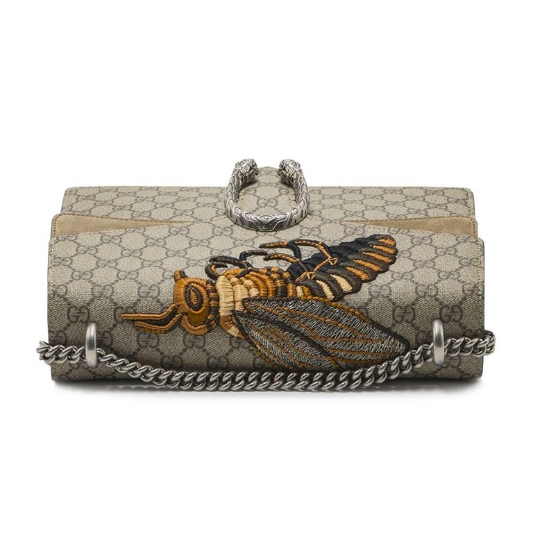 c54a795dc212 Gucci Dionysus Medium Embroidered Canvas & Suede Shoulder Bag For Sale 1