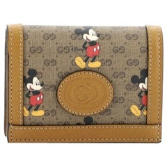 Gucci Disney Mickey Mouse Card Case Wallet Printed Mini GG Coated Canvas