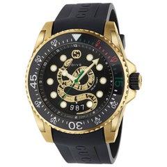Gucci Dive Black Dial Gold Snake Motif YA136219