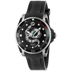Gucci Dive Black Snake Dial and Rubber Strap Watch YA136323