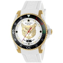Gucci Dive Gold-Plated Cat Dial White Rubber Strap Watch YA136322