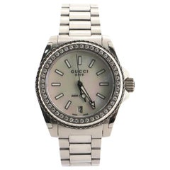 Gucci Dive Quartz Watch Stainless Steel with Diamond Bezel and Mother of Pearl