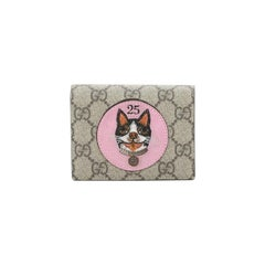 Gucci Dog Flap Card Case GG Coated Canvas with Applique