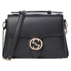 Gucci Dollar Calfskin Interlocking GG Medium Shoulder Bag - Black