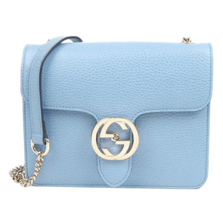 Gucci Dollar Calfskin Interlocking GG Small Shoulder Bag - Baby Blue