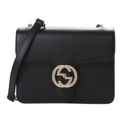 Gucci Dollar Calfskin Interlocking GG Small Shoulder Bag - Black
