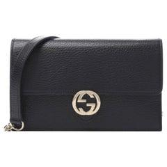 Gucci Dollar Calfskin Interlocking GG Wallet on Chain Bag - Black