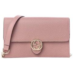 Gucci Dollar Calfskin Interlocking GG Wallet on Chain Bag - Soft Pink