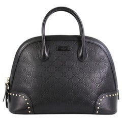 Gucci Dome Satchel Studded GG Embossed Leather Medium