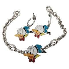 Gucci Donald Duck Enamel Bracelet and Earring Set