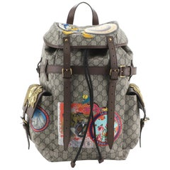 Gucci Donald Duck Soft Backpack GG Coated Canvas with Applique Large