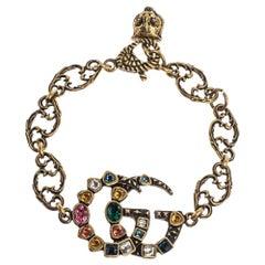 Gucci Double G Multicolor Crystal Gold Tone Bracelet