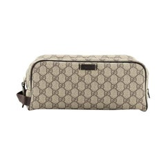 Gucci Double Zip Toiletry Pouch GG Coated Canvas Medium