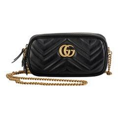 Gucci Double Zipper Black GG Cross Body Bag