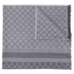 Gucci Dove Grey Monogram Print Scarf