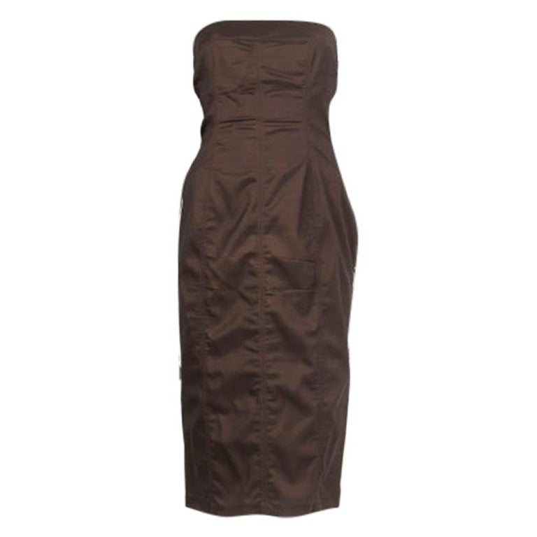 GUCCI drab olive rayon Strapless Bustier Cocktail Dress 44 For Sale