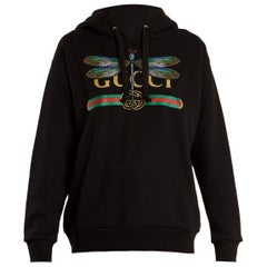 Gucci Dragonfly and Logo-Print Cotton Hooded Sweatshirt