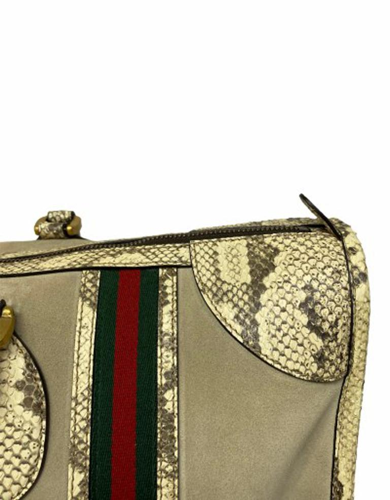 Women's or Men's Gucci Duffle Travel Bag in Beige Suede with Python and Golden Hardware For Sale