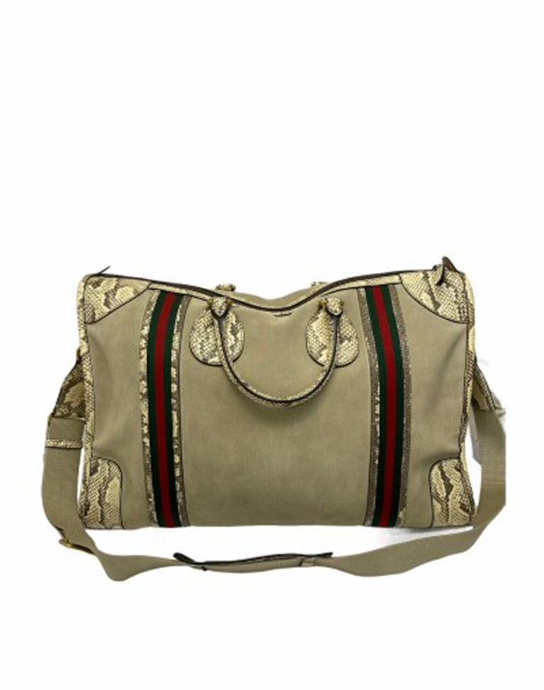Gucci Duffle Travel Bag in Beige Suede with Python and Golden Hardware For Sale 1