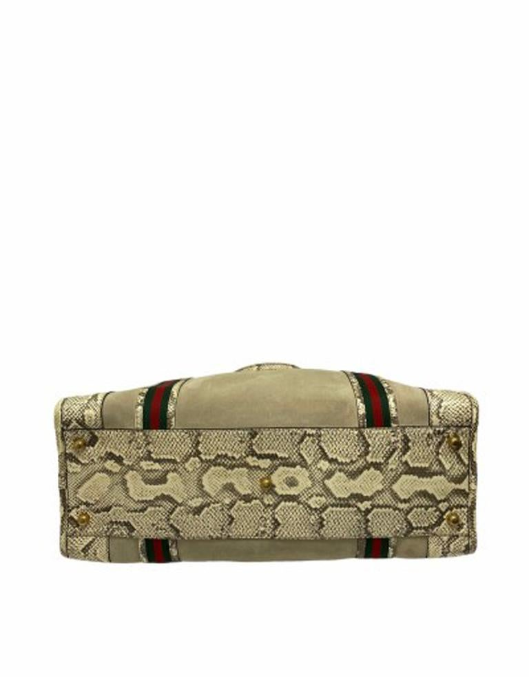 Gucci Duffle Travel Bag in Beige Suede with Python and Golden Hardware For Sale 2