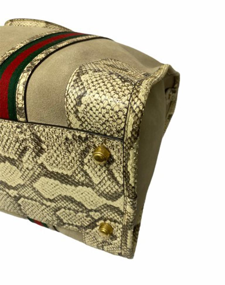 Gucci Duffle Travel Bag in Beige Suede with Python and Golden Hardware For Sale 3
